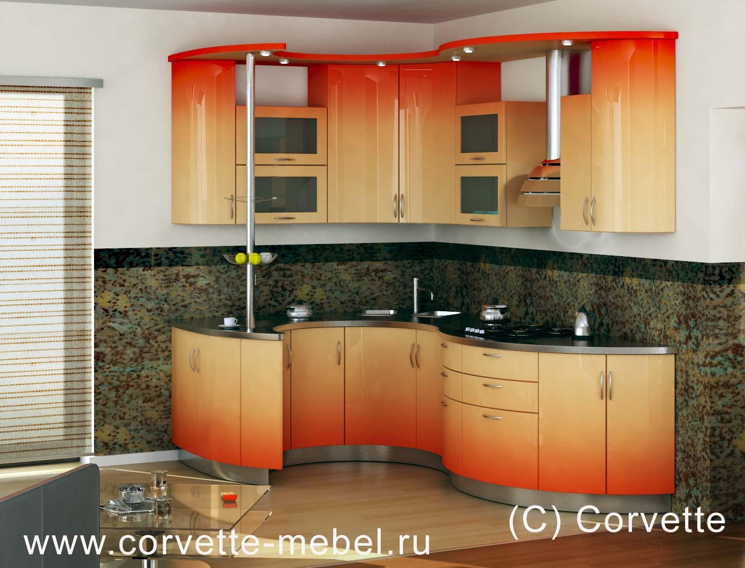 Угловая кухня гнутый фасад трапеза 2100х1230 - доска объявле.